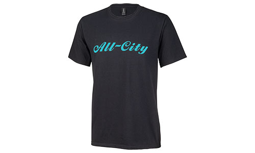 Teal All-City logo on black tshirt on white background