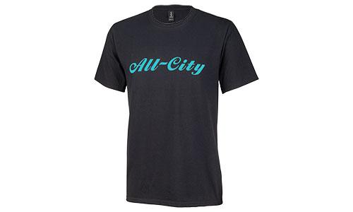Teal All-City logo on black tshirt on white background