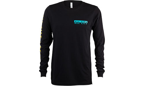 Black and blue All-City cycles super pro long sleeve shirt on a white background