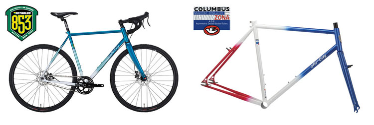 Past production All-City bike and frameset made from Reynolds 853 steel tubing and Columbus Zona steel tubing