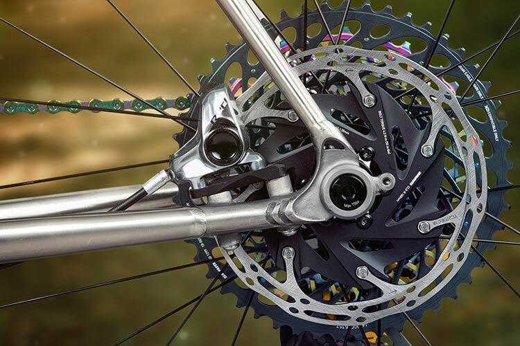 All-City Oberon Titanium tubing detail of disc-side rear dropout on Cosmic Stallion Titanium frame