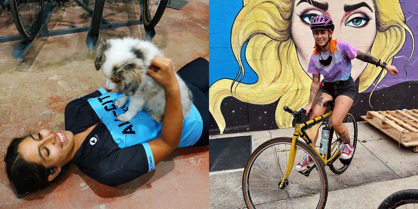 Steeplechase winners, person laying on bike shop floor in All-City jersey with puppy, person doing track stand by mural
